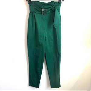 H&M paper bag waist green pants size 4